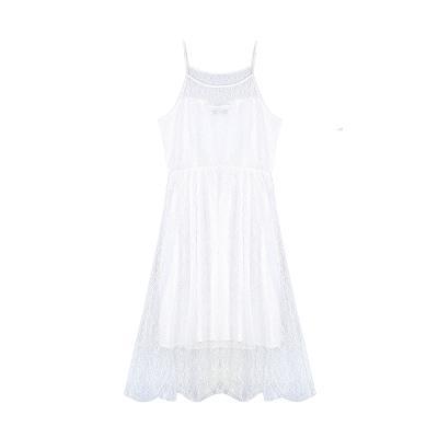 see-through lace slip dress white